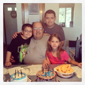 My dad with my nephew Max, Ryan and Julia