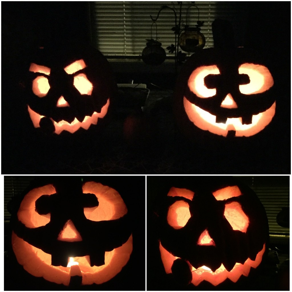 The kids carved their own pumpkins, they came out great...mommy did help just a little :)